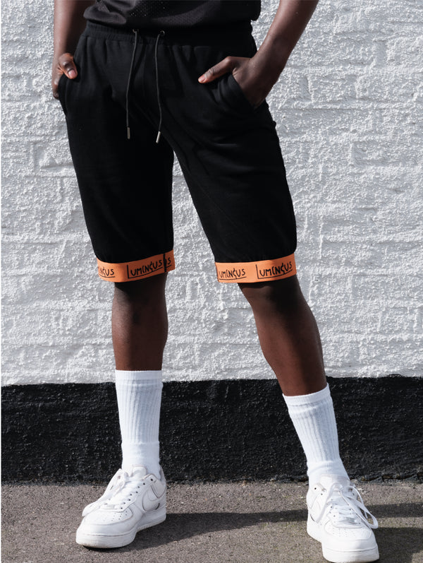 LUMINOUS ESSENTIALS TAPE JERSEY SHORTS - BLACK - We Are Luminous London