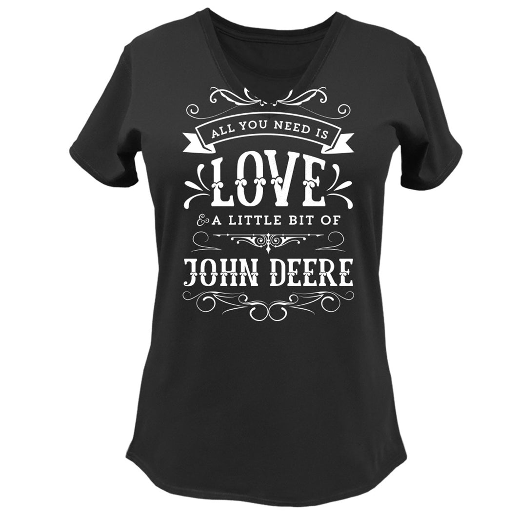 Womens Black LOVE V-Neck Tee