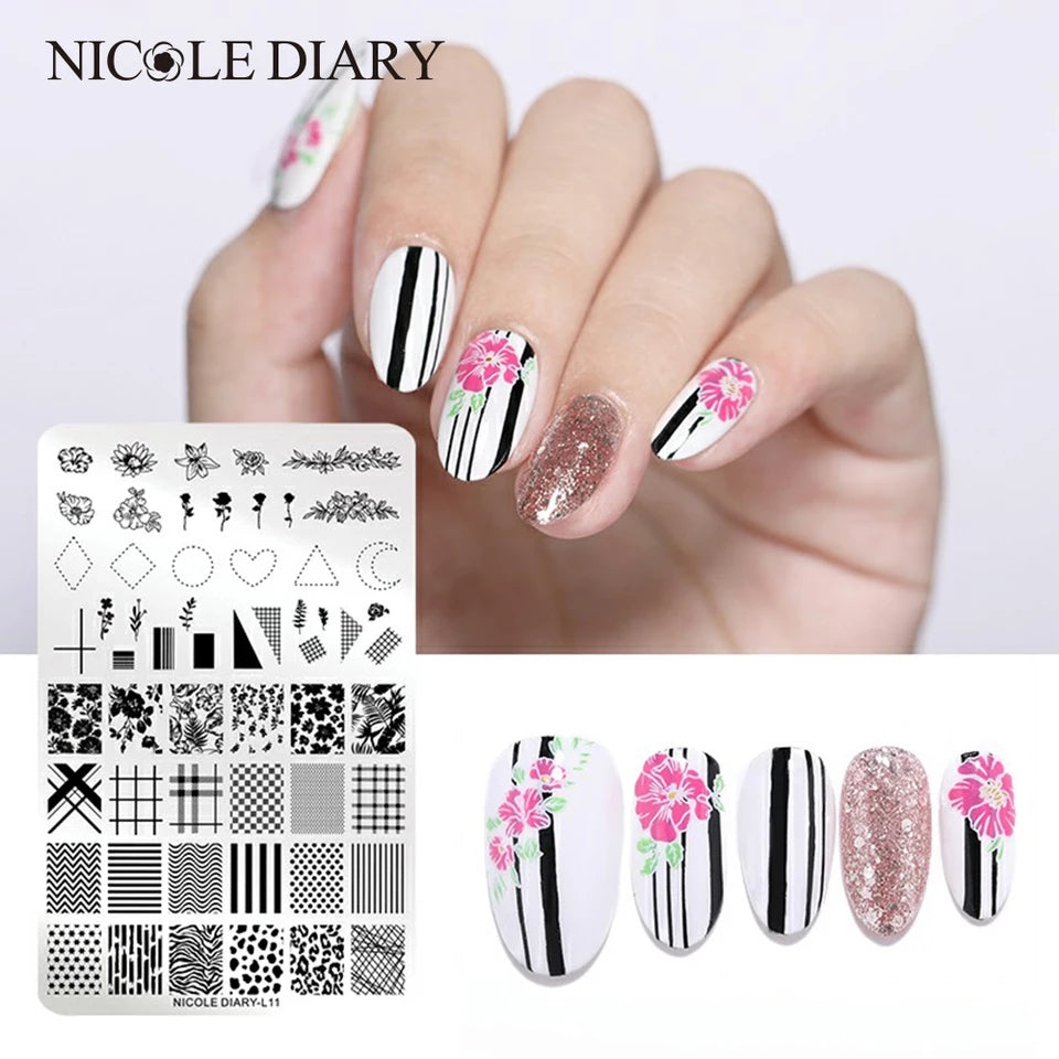 Nicole Diary XL Geometry and Flowers Stamping Plate L-04