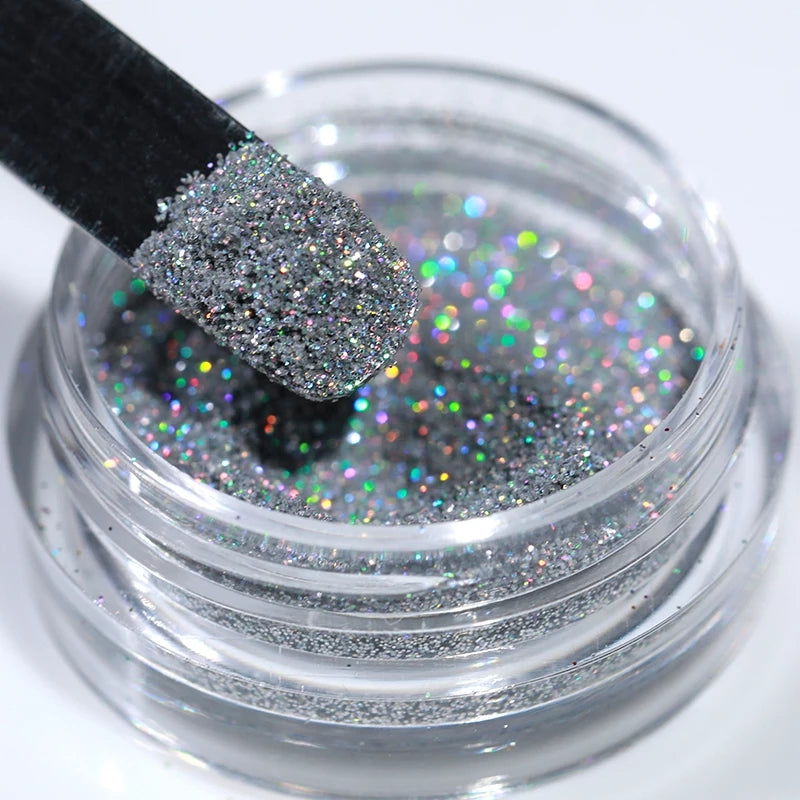 Silver Holographic Nail Glitter Powder