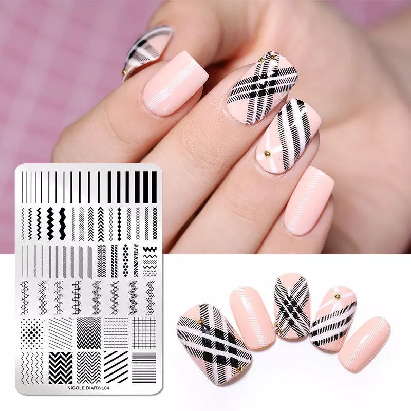 Nicole Diary XL Geometric Lines Stamping Plate L-04 - I Love My Polish
