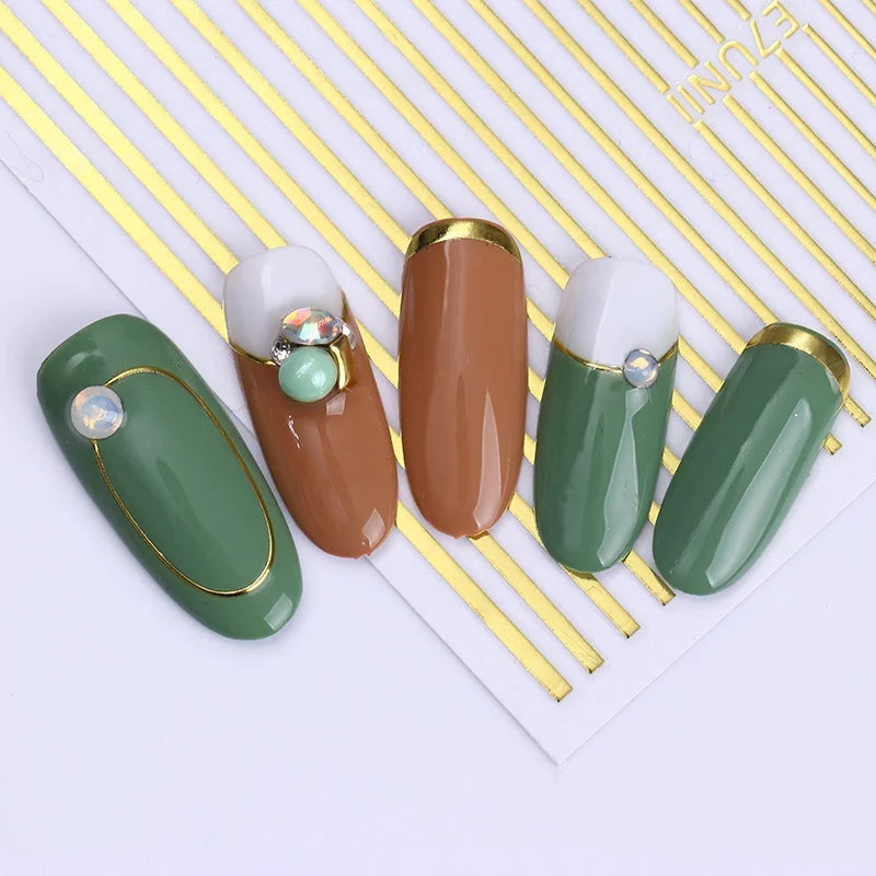 Golden Striped Multisized Nail Sticker