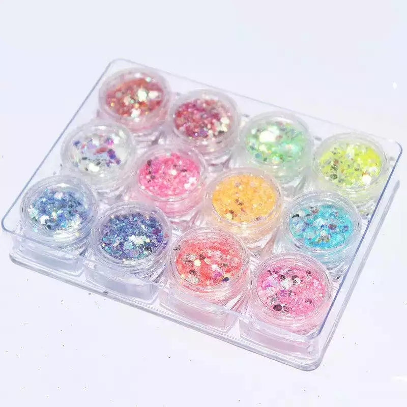 Set of 12 Mix Glitter Mylars with Nail Decorations