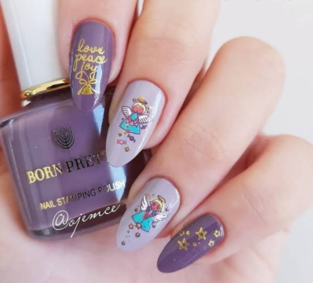 Born Pretty Dusty Purple Stamping Nail Polish 6ml - Tail Of Dark