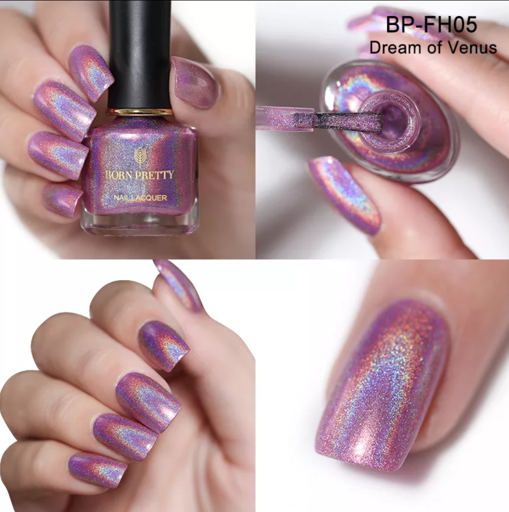BORN PRETTY Pink Holographic Nail Polish- Dream of Venus