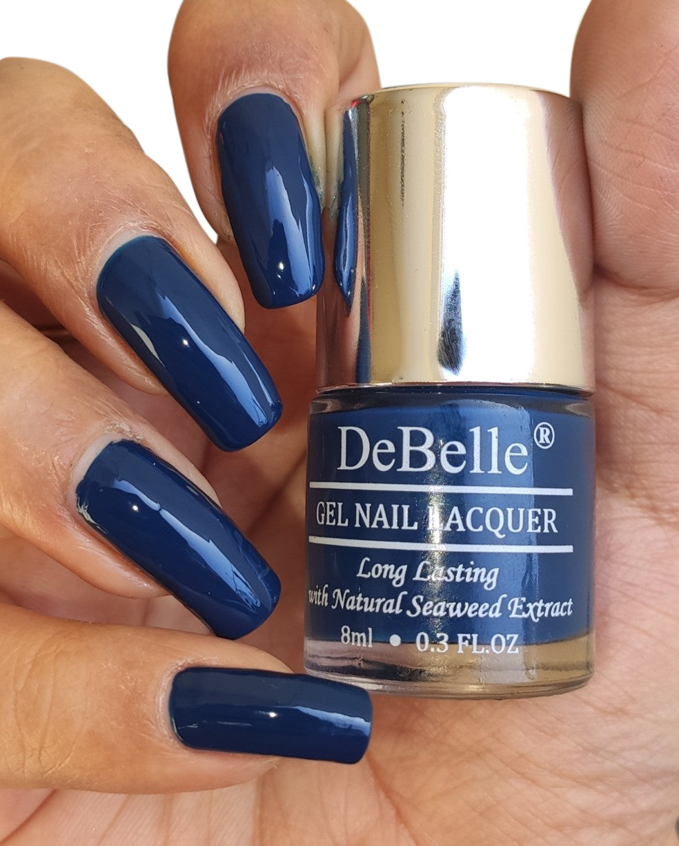 DeBelle Gel Nail Lacquer Bleu Allure (Navy Blue Nail Polish), 8ml