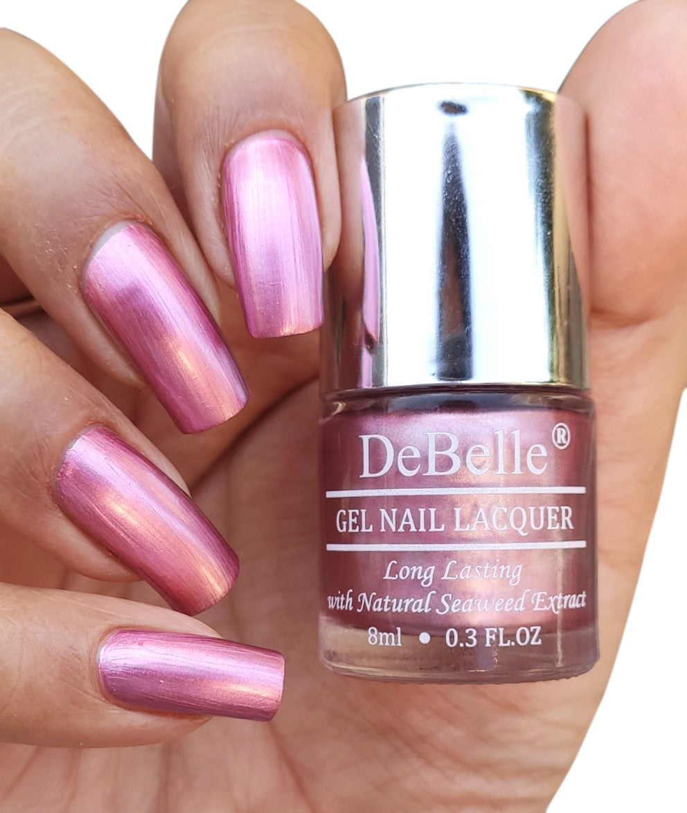 DeBelle Gel Nail Lacquer Chrome Glaze (Metallic Pink Nail Polish), 8ml