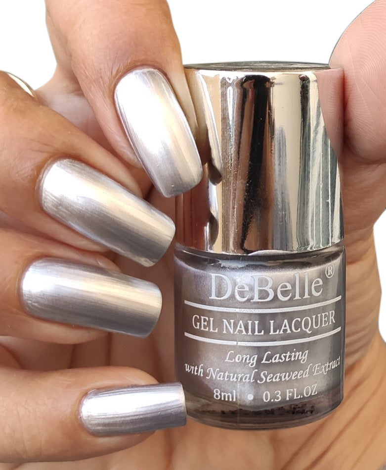 DeBelle Gel Nail Lacquer Chrome Silver (Metallic Silver Nail Polish), 8ml