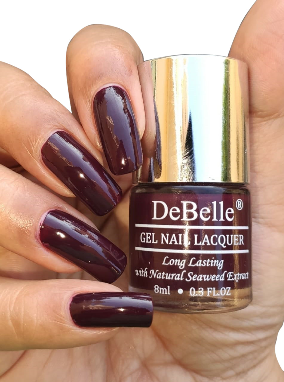 DeBelle Gel Nail Lacquer Glamorous Garnet (Wine Red Nail Polish), 8ml