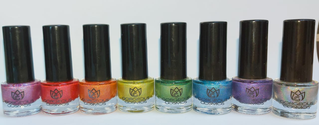 Set of 8 G.C. Rainbow Holo Nail Polishes
