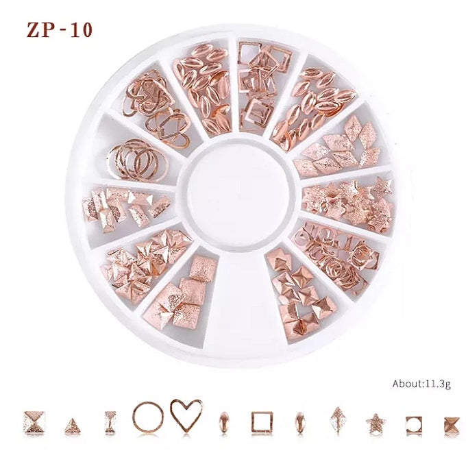 Rose gold Mixed Metal Rivet Nail Wheel ZP-10