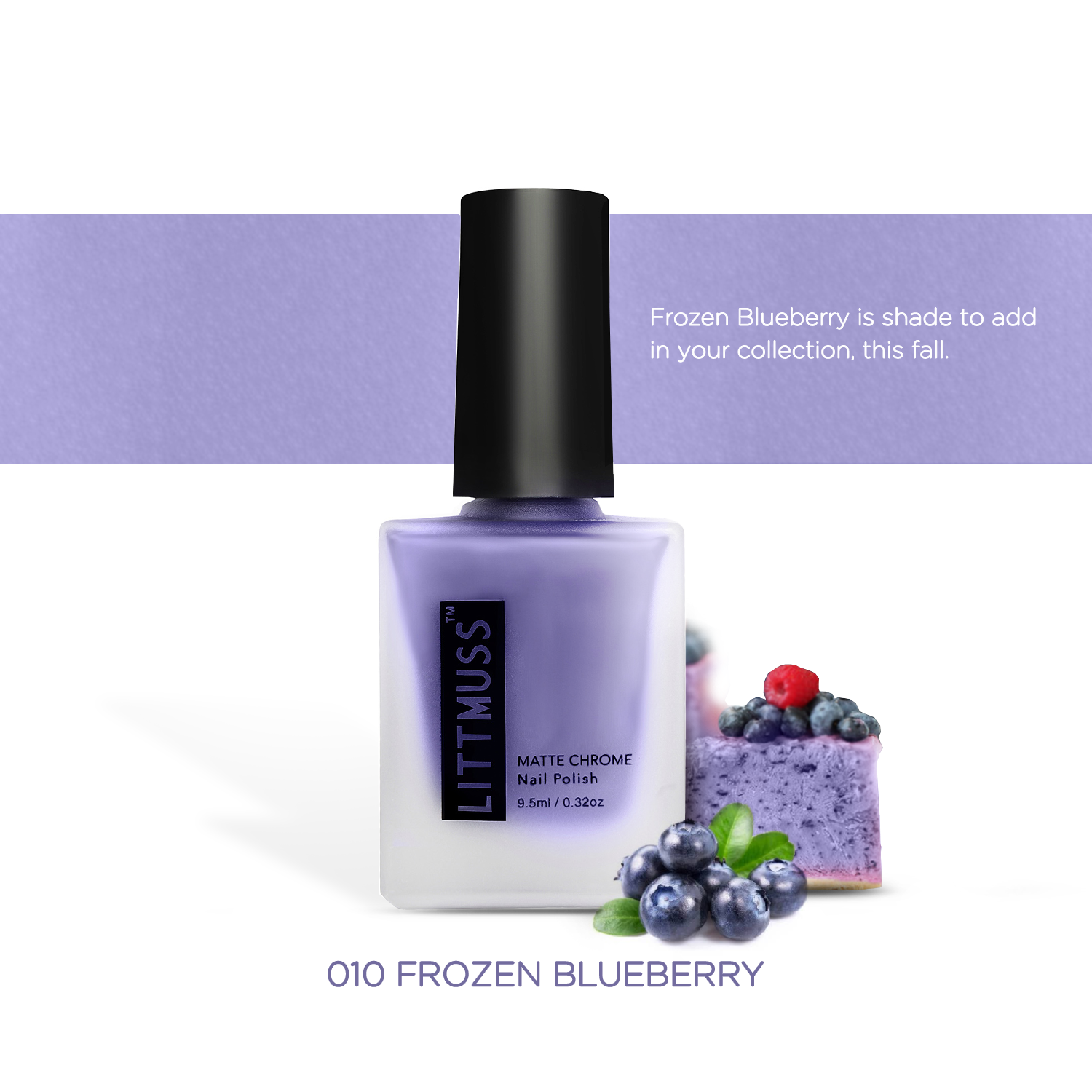 LITTMUSS Matte Chrome Nail Polish Frozen Blueberry -010