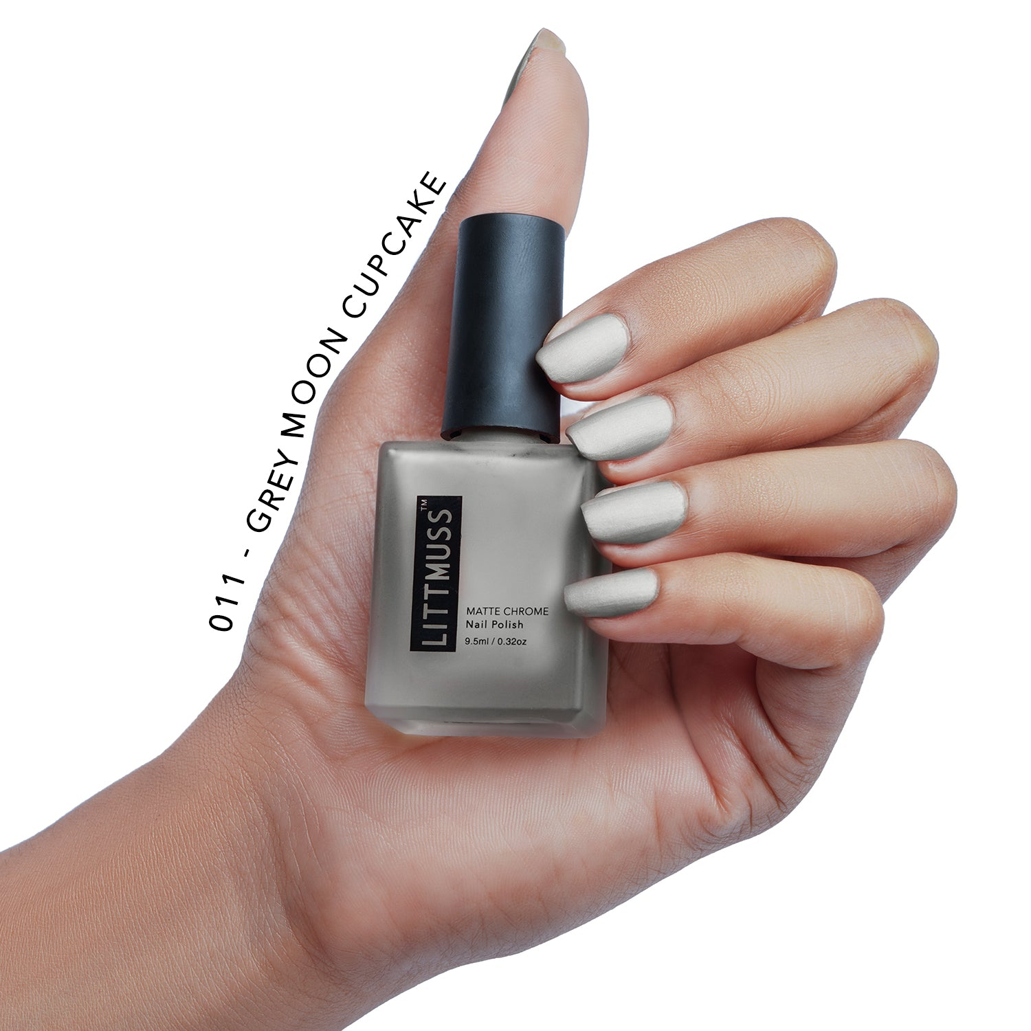 LITTMUSS Matte Chrome Nail Polish Grey Moon Cupcake -011
