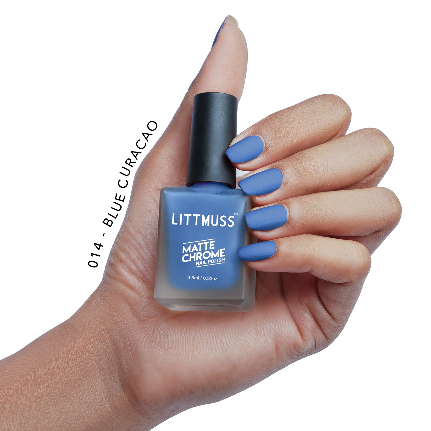 LITTMUSS Matte Chrome Nail Polish Blue Curacao -014