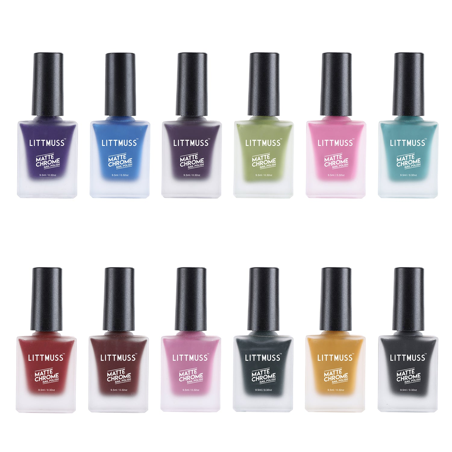 LITTMUSS Matte Chrome Nail Polish New Collection(set of 12)