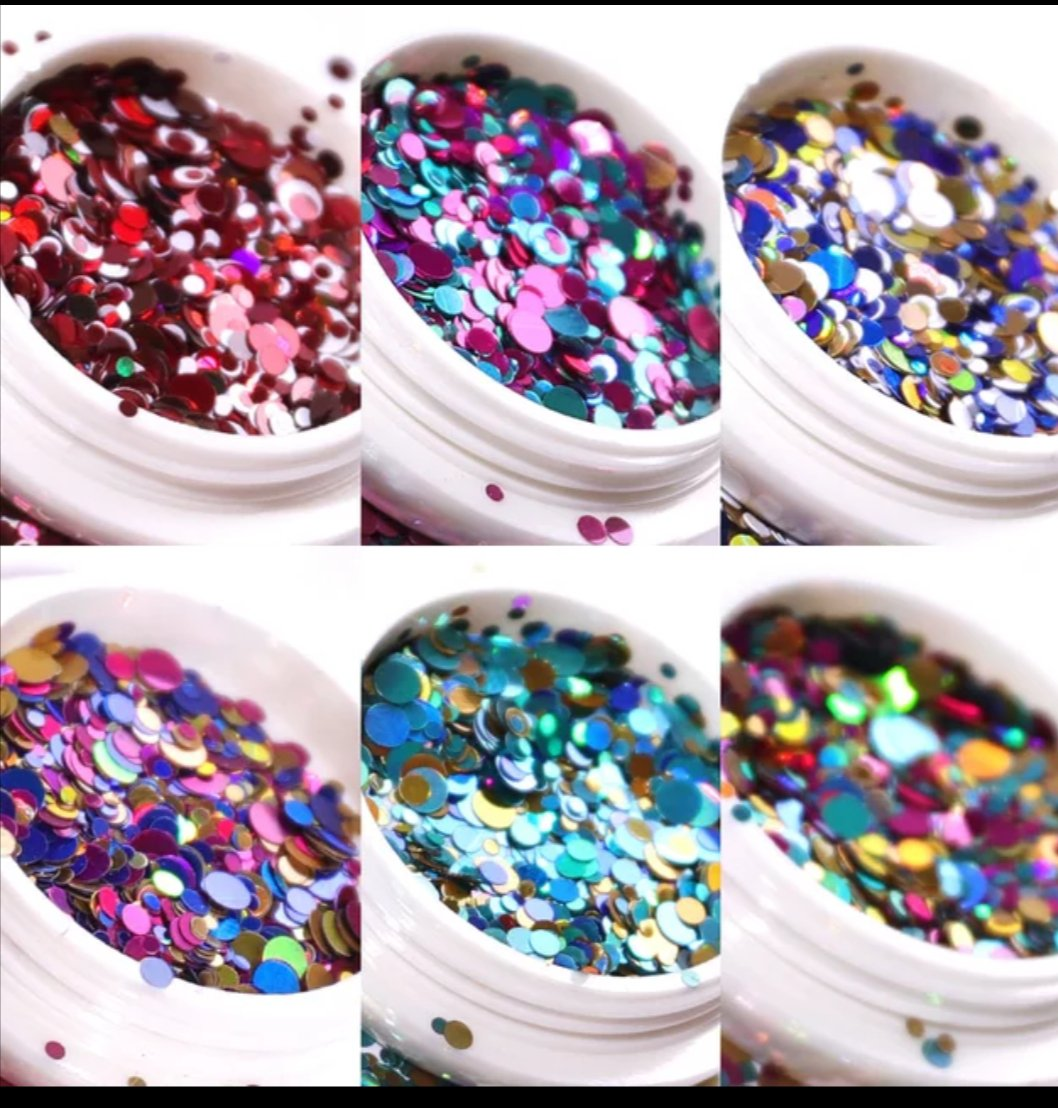 Round Nail Art Sequins Jars