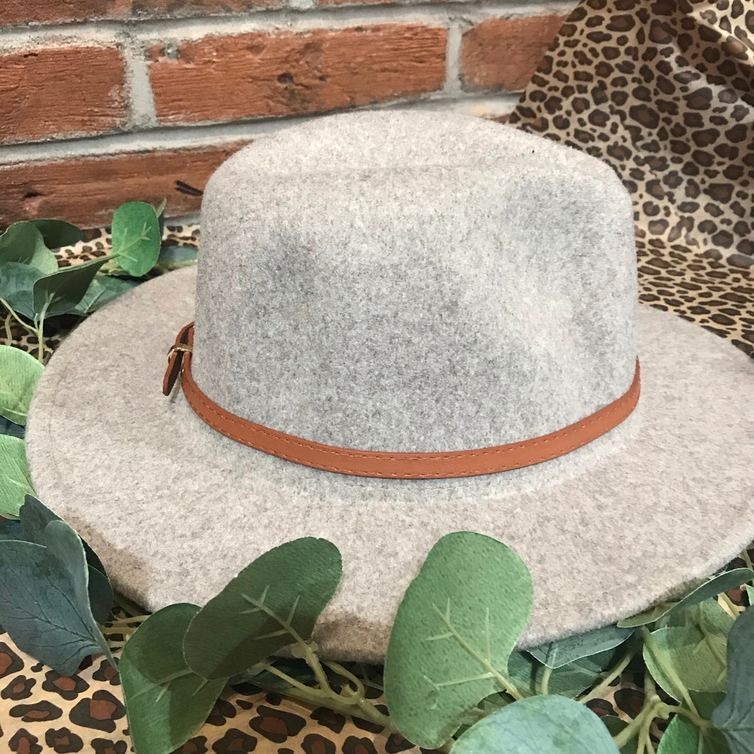 Dark Ivory With Brown Simple Leather Belt Panama Hat