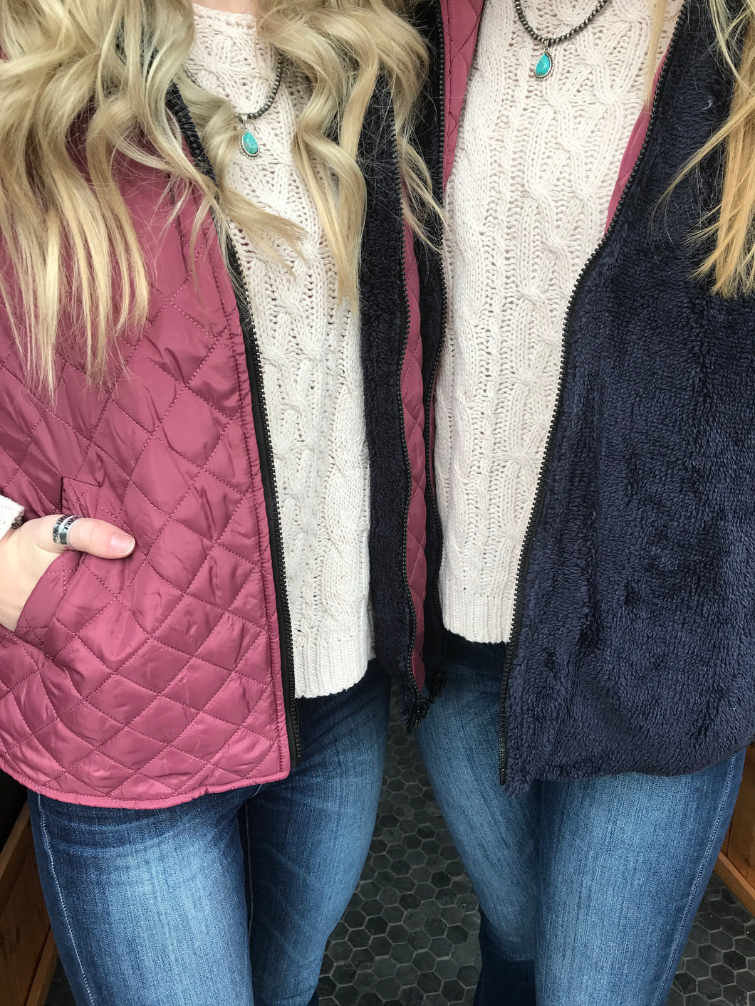 Simply Southern Reversible Maroon and Black Vest
