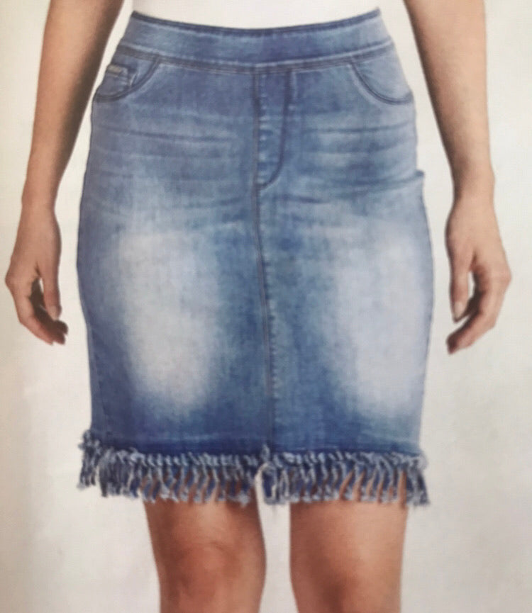 Fringe Skirt Medium Denim
