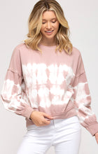 Load image into Gallery viewer, Rose Tie Dyed French Terry Knit Top