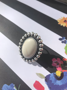 Natural White Turquoise Ring