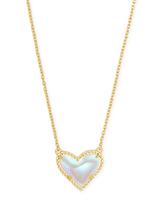 Kendra Scott Ari Heart Gold Dichroic Glass Necklace