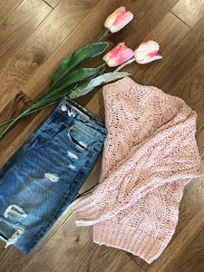 Rose Long Sleeve Cable Knit Sweater Top