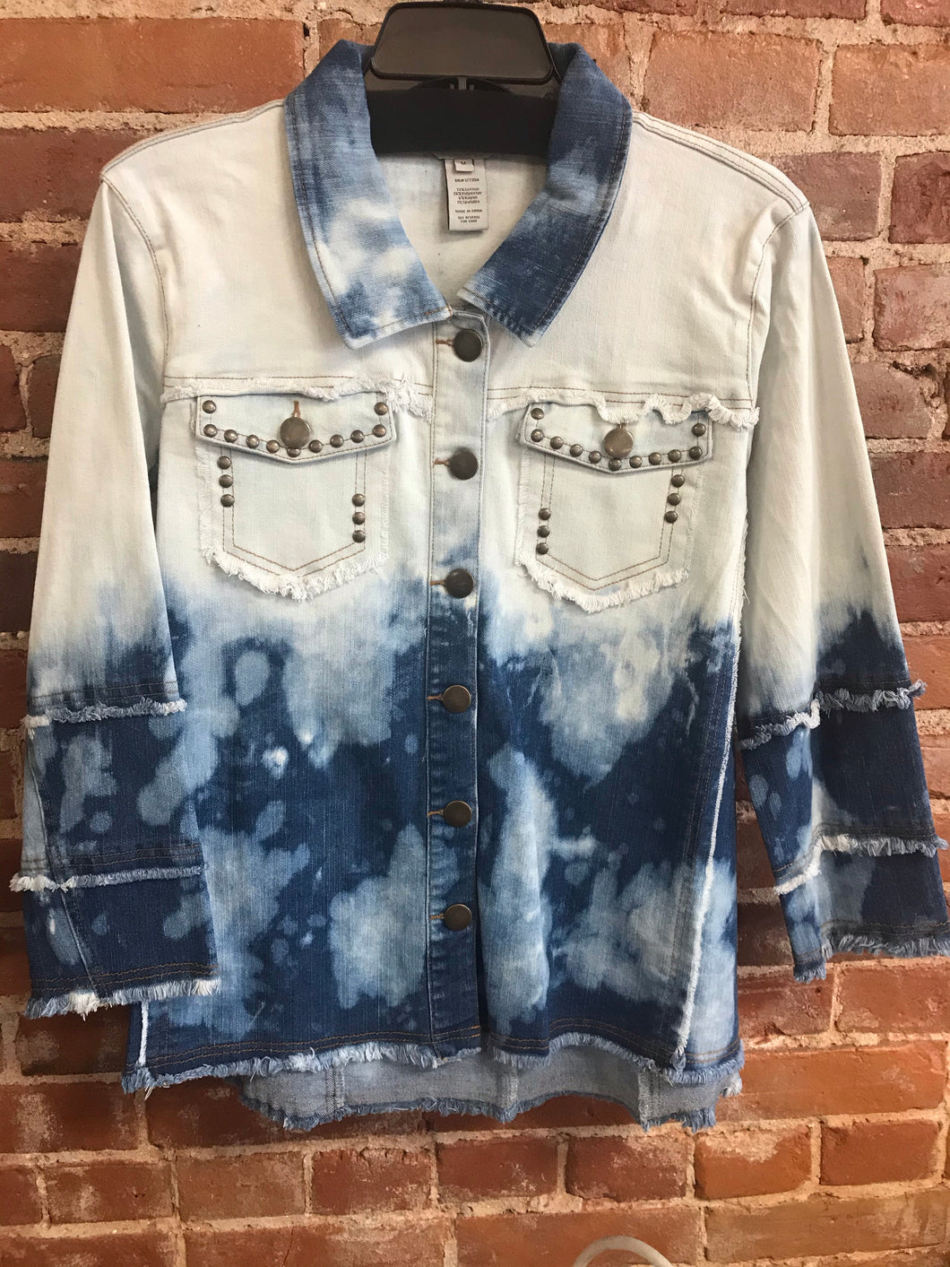 Multiples Fringe Hem Denim Jacket