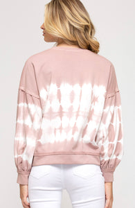 Rose Tie Dyed French Terry Knit Top