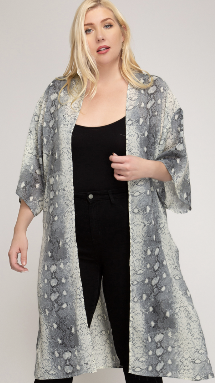 Curvy Snake Skin Print Woven Cover Up
