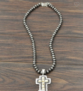 White Turquoise Cross Necklace