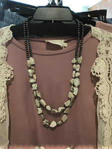 White turquoise necklace with Navajo beads