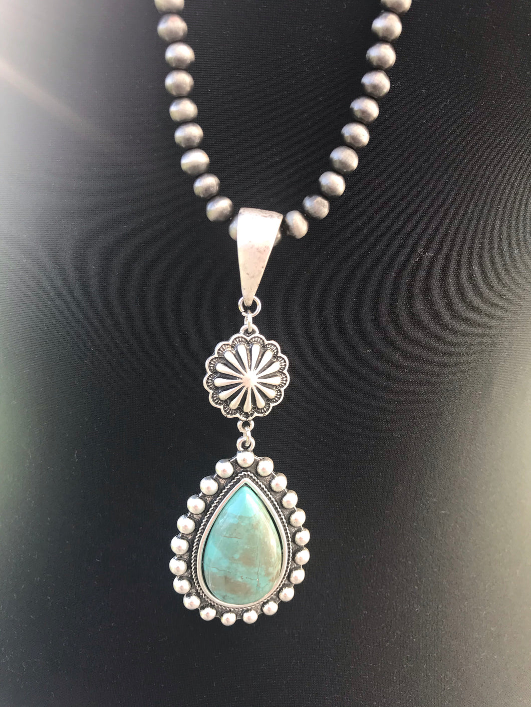 Natural Turquoise Antique Silver Plate Necklace