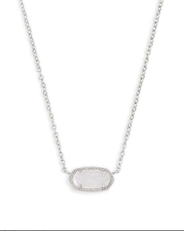Kendra Scott Elisa Silver Iridescent Drusy Necklace