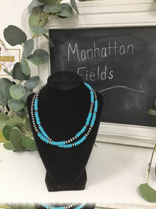 Turquoise beaded necklace with Navajo pearls