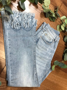 Charlie B Fringe Stretch Denim