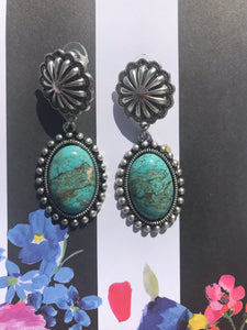 Natural Turquoise Oval Post Earrings