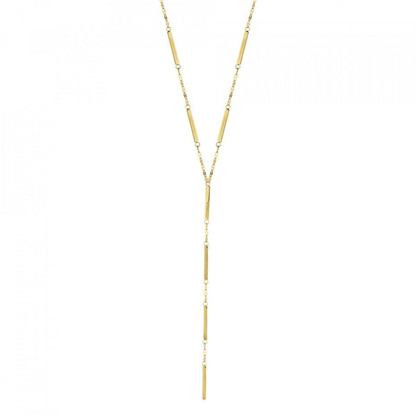 14K Gold Bar and Sequin Lariat Y Necklace | Avie Fine Jewelry