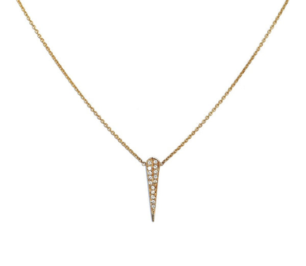 14K Gold Pave Diamond Thorn Necklace | Avie Fine Jewelry