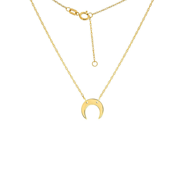 14K Gold Tiny Crescent Moon Necklace | Avie Fine Jewelry