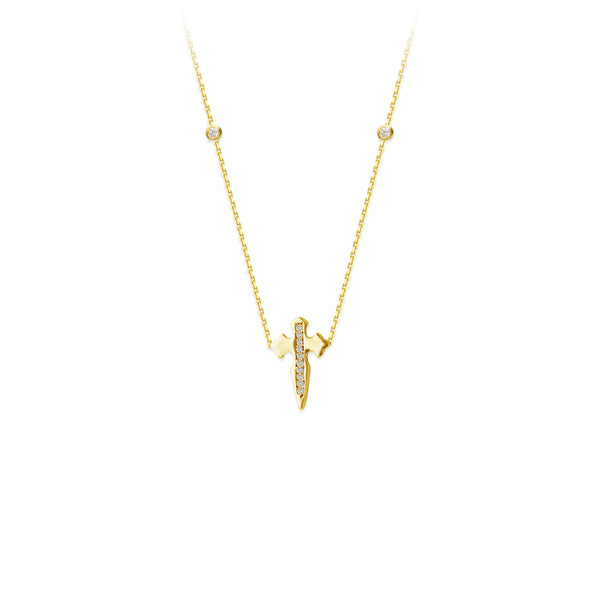 14K Gold Diamond Dagger Cross Necklace | Avie Fine Jewelry