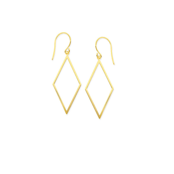 14K Gold Diamond Shape Dangle Earrings | Avie Fine Jewelry