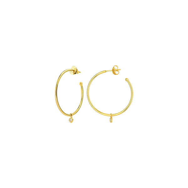 14K Gold Diamond Dangle Hoop Earrings | Avie Fine Jewelry