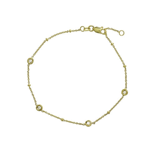 14K Gold Diamond Station Satellite Chain Bracelet  | Avie Fine Jewelry