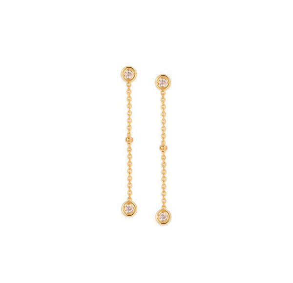 14K Gold Round Diamond Drop Station Earrings | Avie Fine Jewelry