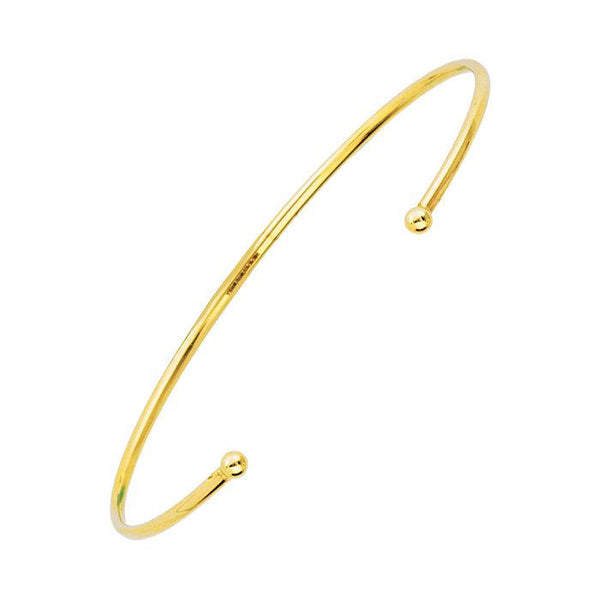 14K Gold Open Cuff Bracelet with Beaded Ends | Avie Fine Jewelry