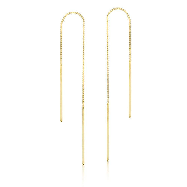 Stitched 14K Gold Double Bar Ear Thread Chain Earrings | Avie Fine Je…