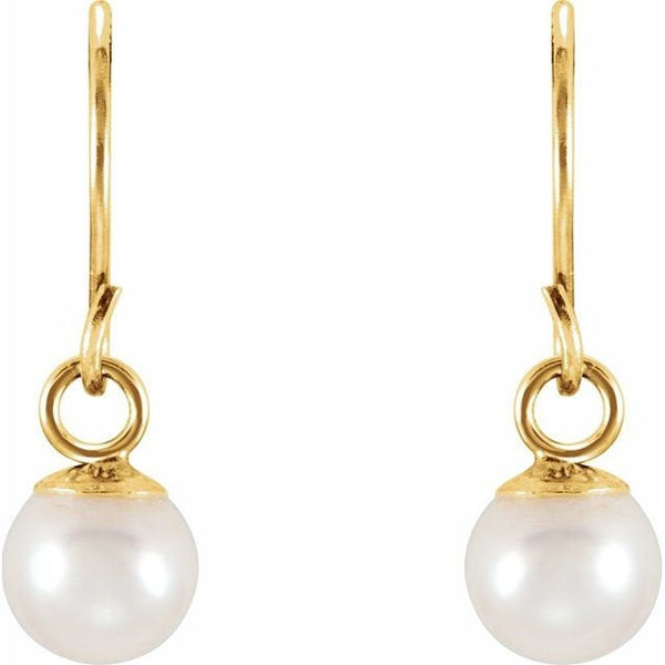 14K Gold Tiny Pearl Drop Earrings | Avie Fine Jewelry