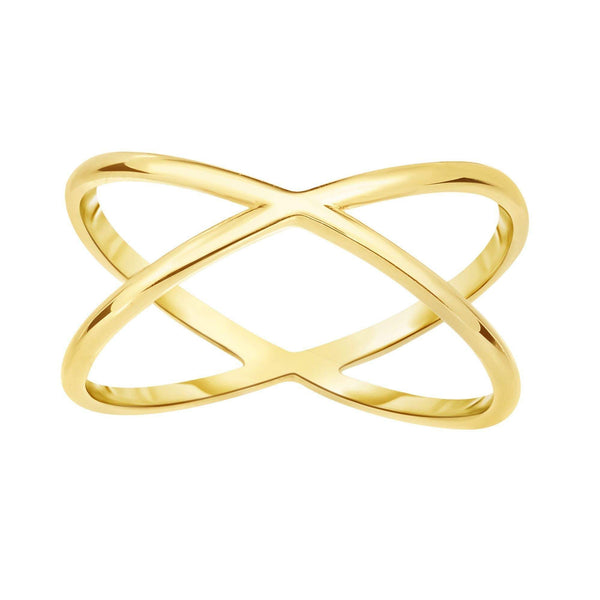 14K Gold X Criss Cross Ring | Avie Fine Jewelry
