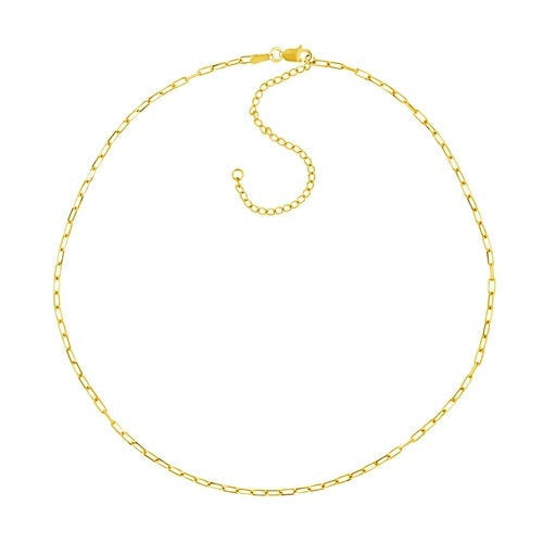 14K Gold Link Paperclip Chain Choker Necklace | Avie Fine Jewelry